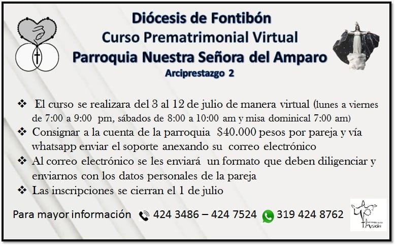 Curso prematrimonial virtual diocesis de Fontibon
