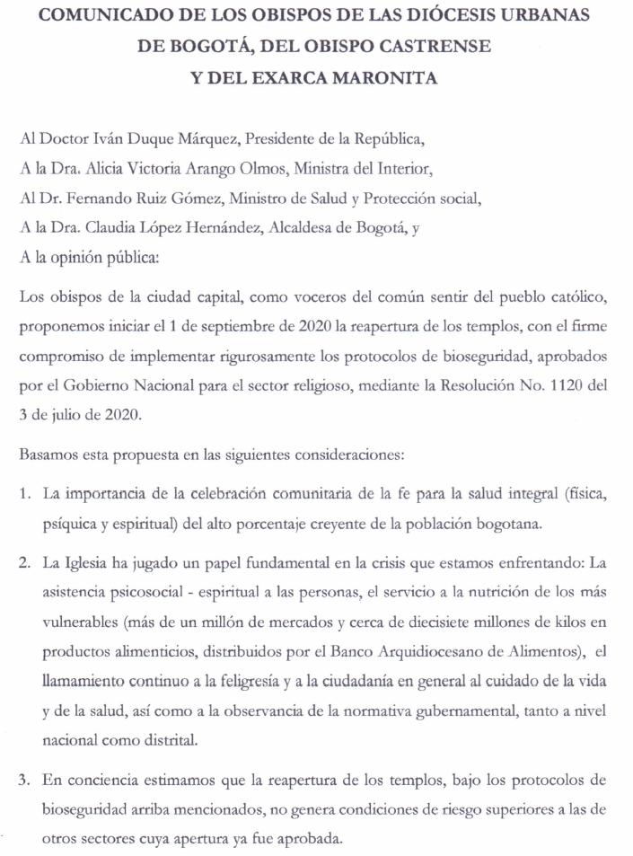 Comunicado de obispos de Bogotá y diócesis urbanas solicitando la re apertura de templos.