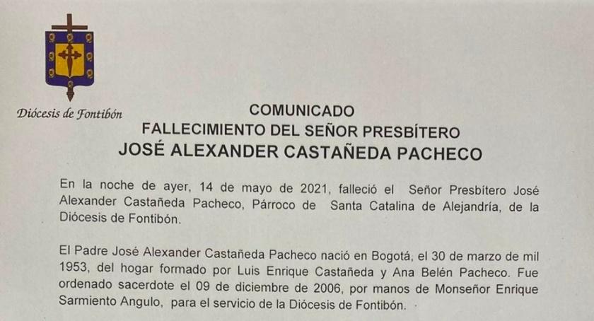 Comunicado sobre fallecimiento del padre José Alexander Castañeda